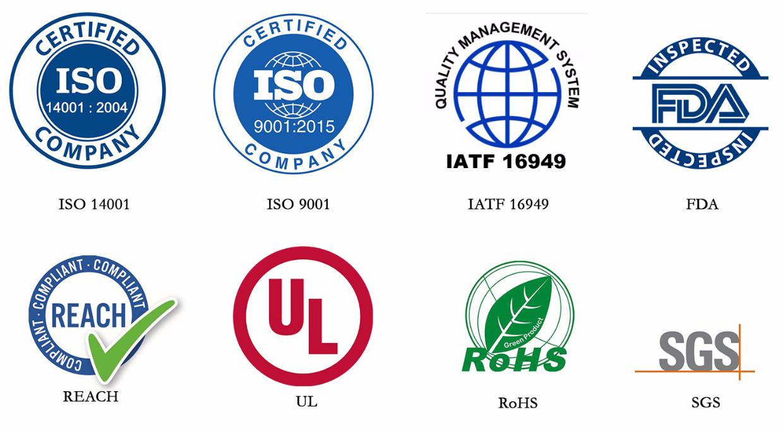 certificates-ISO-SGS-ROHS-FDA-UL-REACH-IAFT